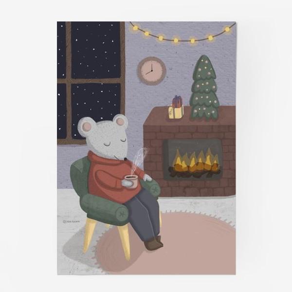 Постер «Новогодняя мышка в уютной комнате»