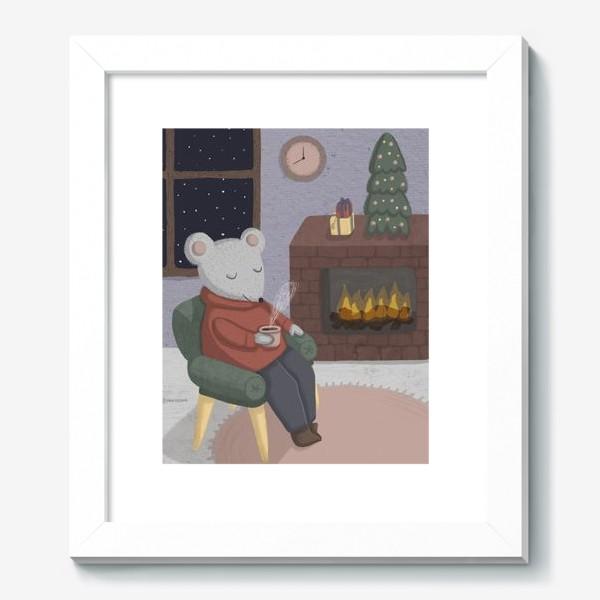 Картина «Новогодняя мышка в уютной комнате»