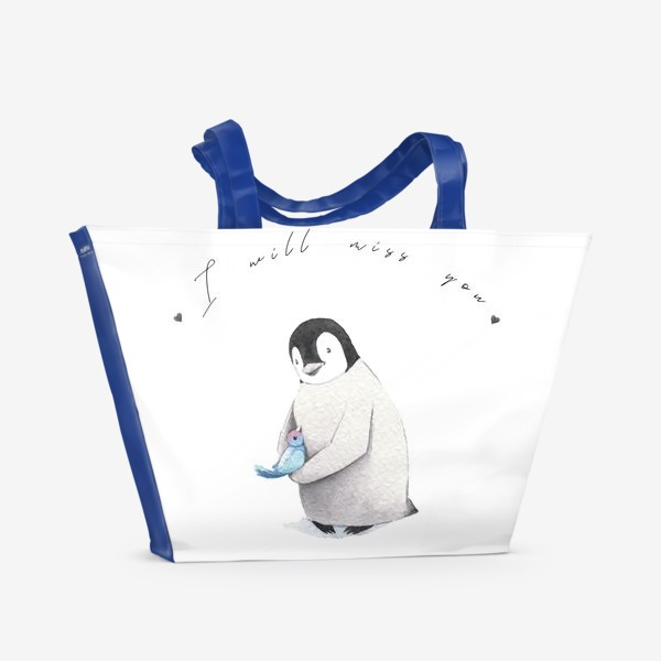 Пляжная сумка «Пингвин с птичкой I miss you»