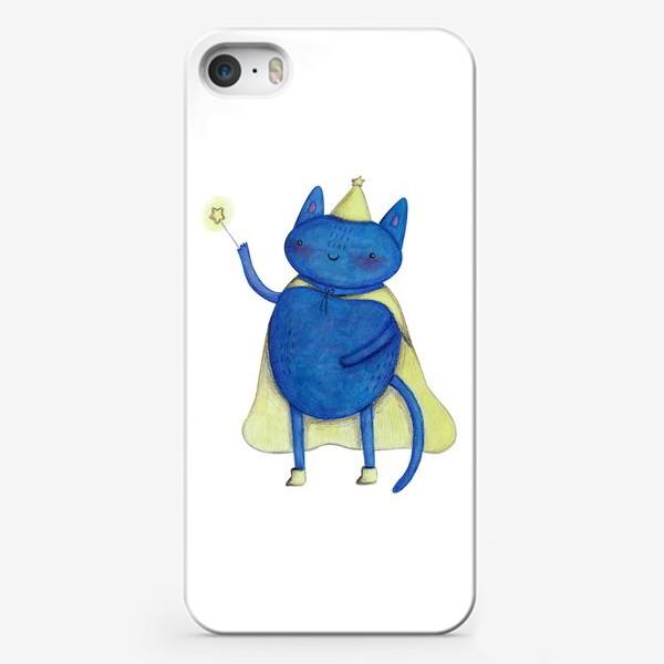 Чехол iPhone «Милый кот волшебник с волшебной палочкой. Подарок ребенку»