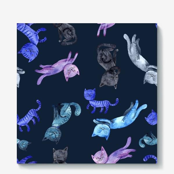 Холст «Коты на темно-синем фоне»