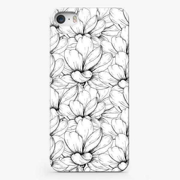 Чехол iPhone «Цветочный паттерн чёрно-белый»