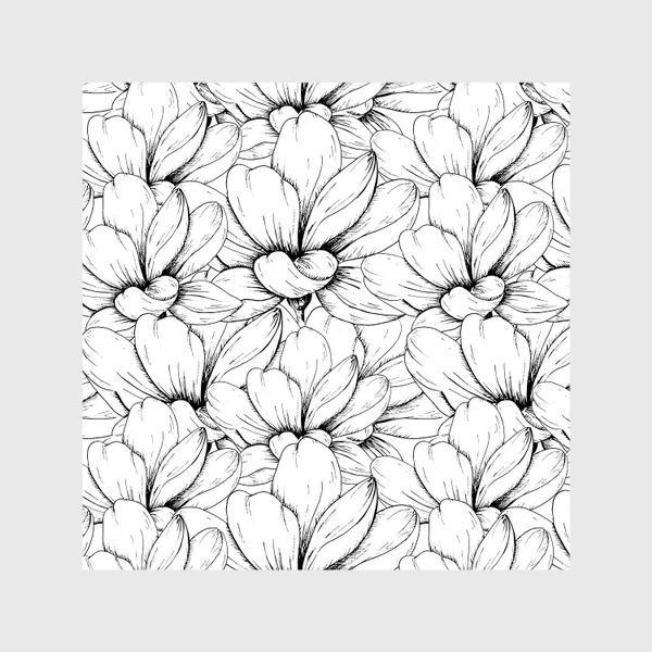 Шторы «Цветочный паттерн чёрно-белый»