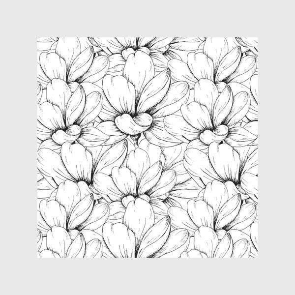 Скатерть «Цветочный паттерн чёрно-белый»