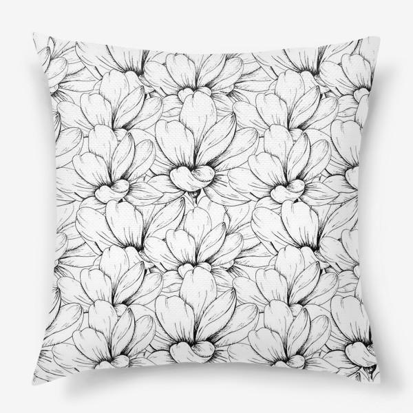 Подушка «Цветочный паттерн чёрно-белый»