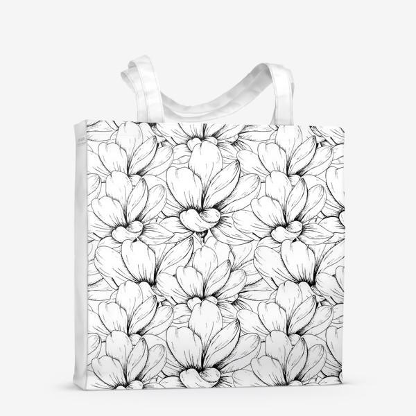 Сумка-шоппер «Цветочный паттерн чёрно-белый»
