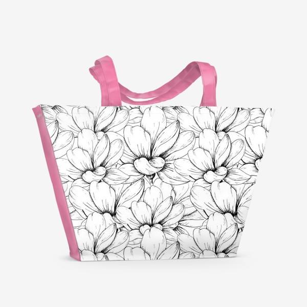 Пляжная сумка «Цветочный паттерн чёрно-белый»