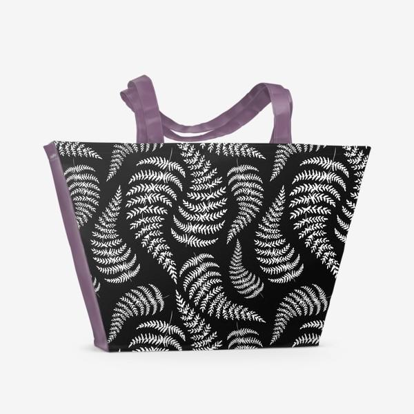 Пляжная сумка «Чёрный паттерн папоротник»