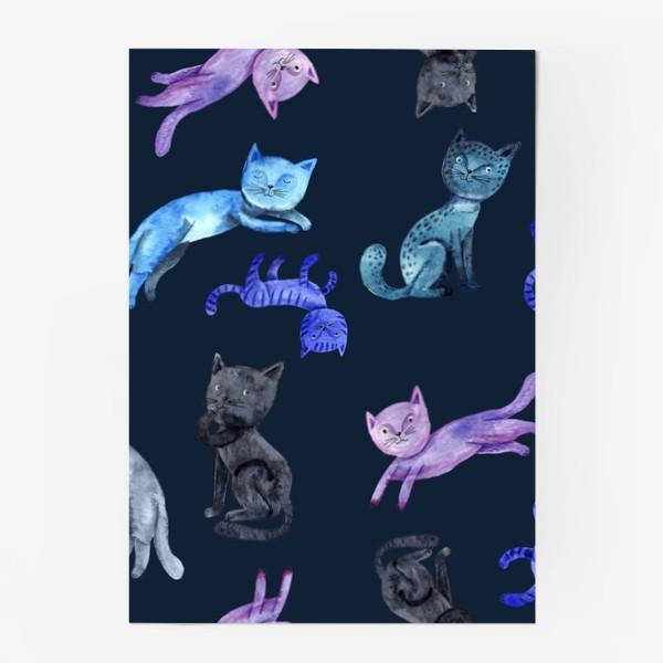 Постер «Коты на темно-синем фоне»