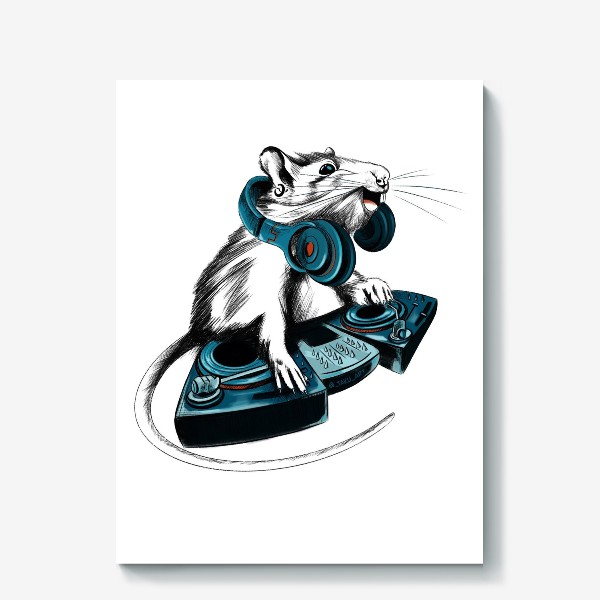 Холст «Диджей крыса»