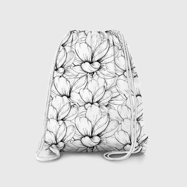 Рюкзак «Цветочный паттерн чёрно-белый»