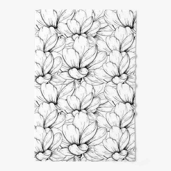 Полотенце «Цветочный паттерн чёрно-белый»