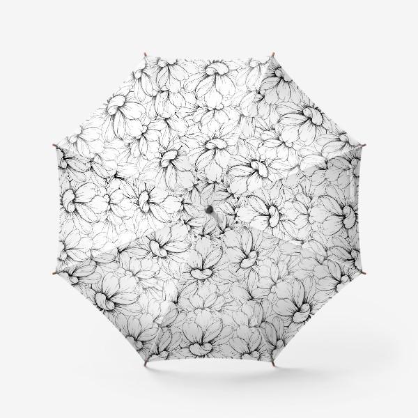 Зонт «Цветочный паттерн чёрно-белый»