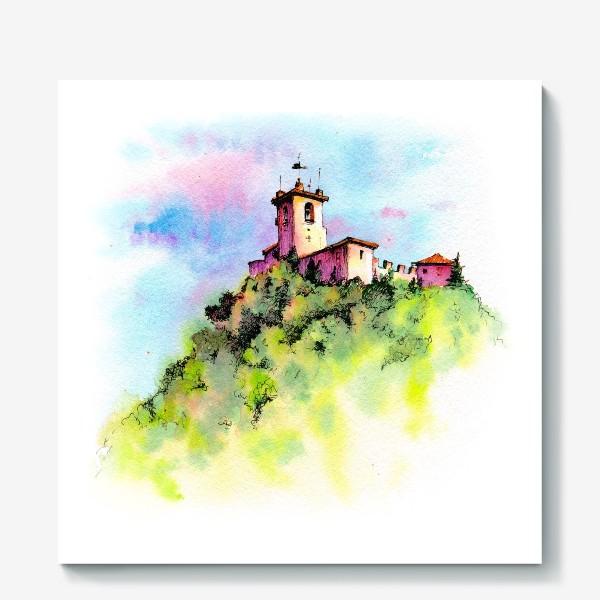 Холст «Watercolor San Marino, Guaita first tower»