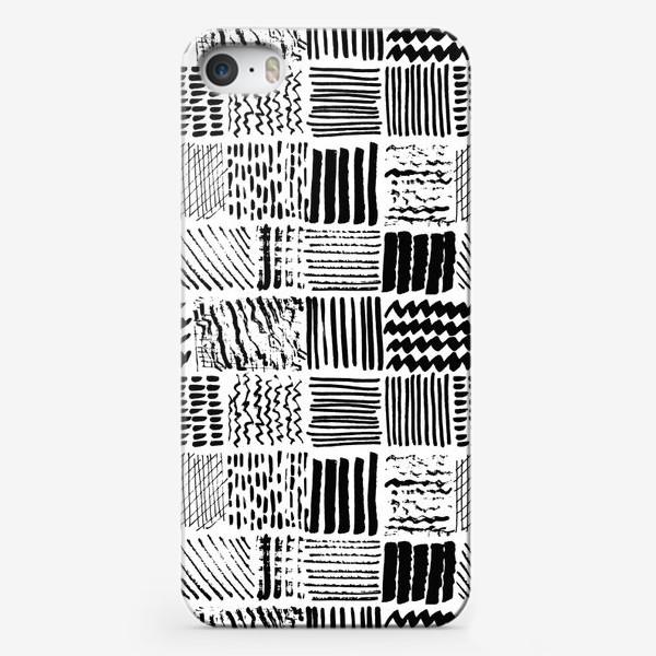 Чехол iPhone «Текстура черным маркером»
