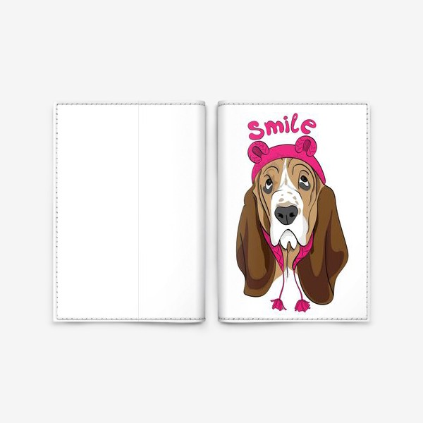Обложка для паспорта «Собака в смешной шапочке»