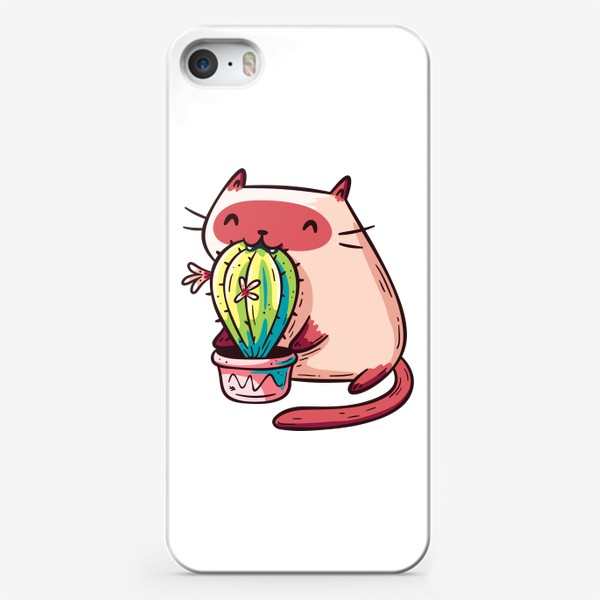 Чехол iPhone «Кавайный Смешной Сиамский Котик Кушает Кактус»