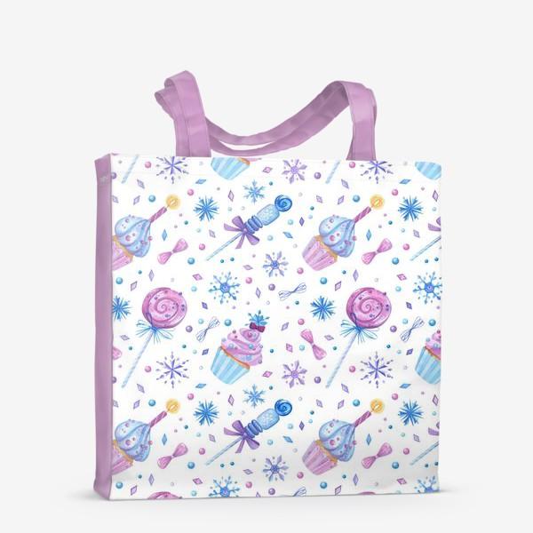Сумка-шоппер «Пирожные, леденцы на палочке, снежинки и кристаллы. Сладкая кондитерская текстура ко дню рождения. Акварельный паттерн»