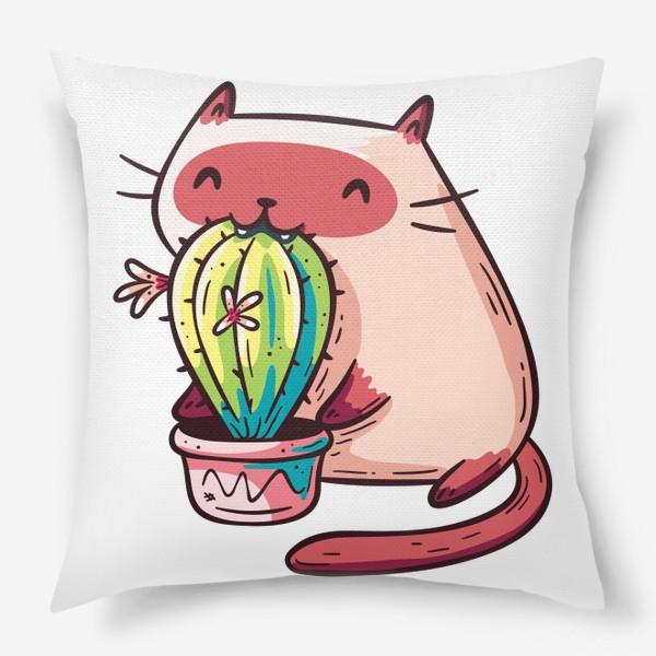 Подушка «Смешной Котик Пробует Кактус»