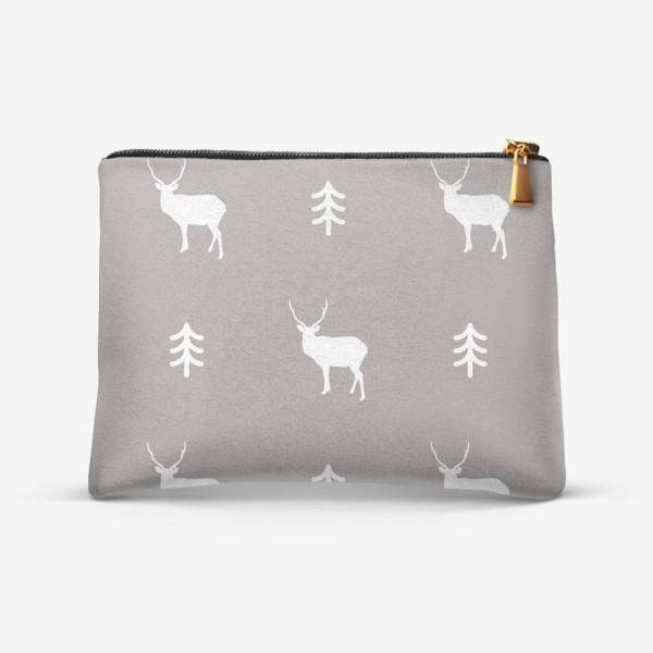Косметичка «Уютный паттерн с оленем и ёлочкой»