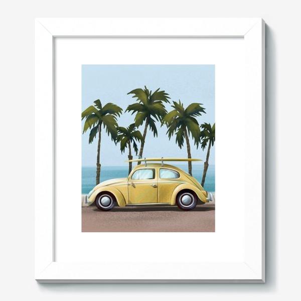 Картина «Желтый ретро автомобиль на фоне моря»