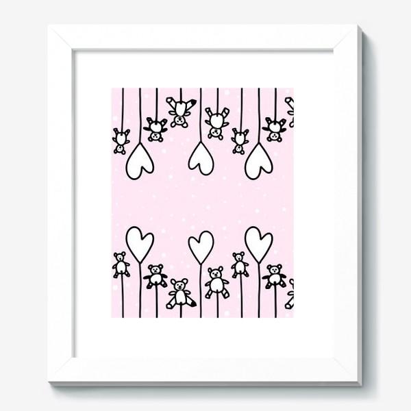Картина «Милые мишки и сердечки в снегу»