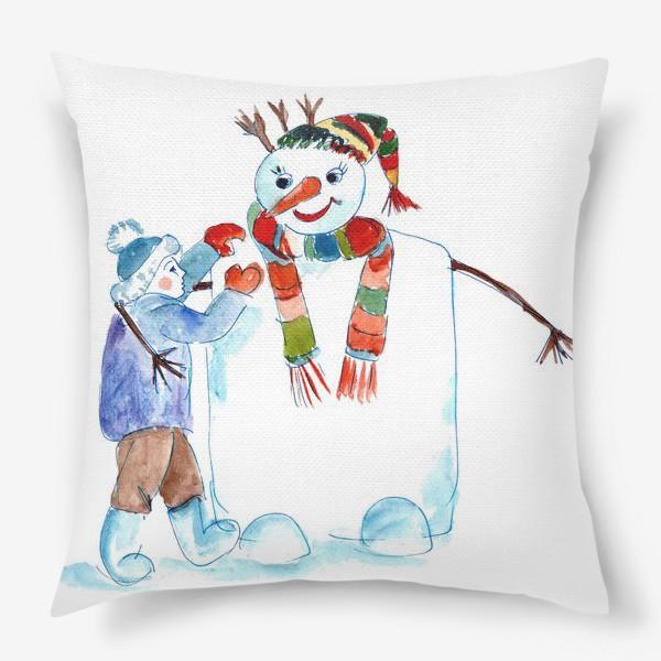 Подушка «Мальчик и снеговик»