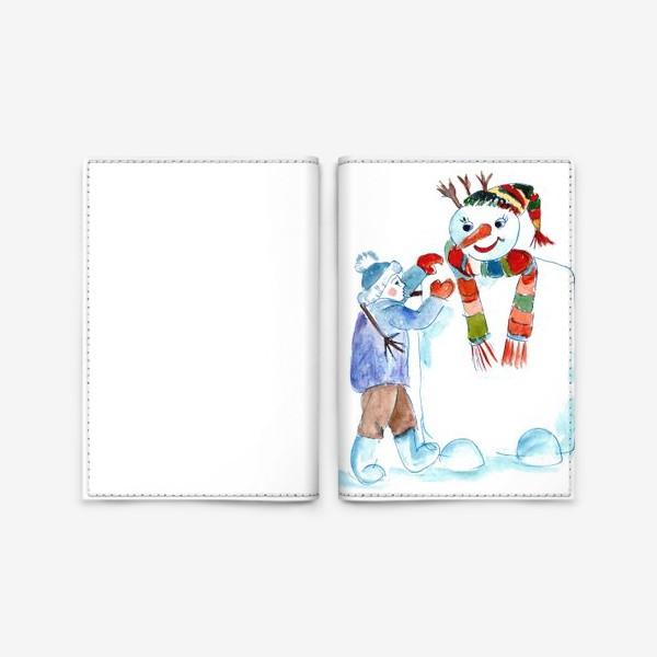 Обложка для паспорта «Мальчик и снеговик»