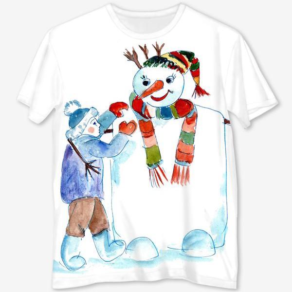 Футболка с полной запечаткой «Мальчик и снеговик»