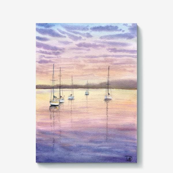 Холст «Яхты на закате»