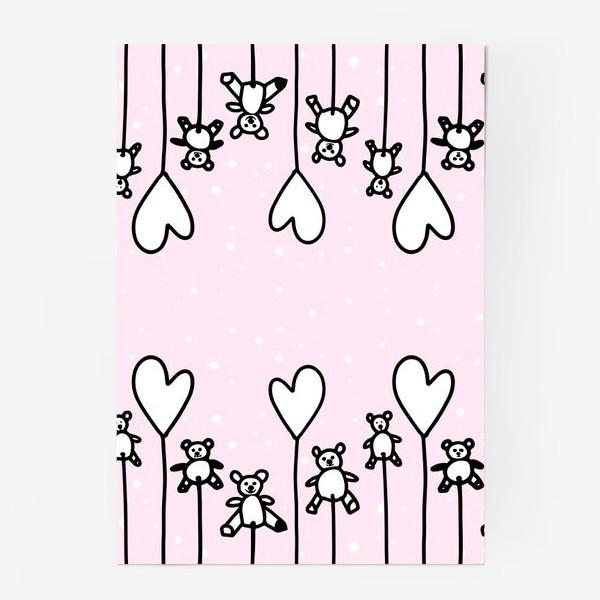 Постер «Милые мишки и сердечки в снегу»