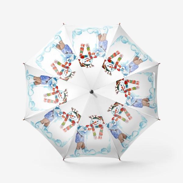 Зонт «Мальчик и снеговик»