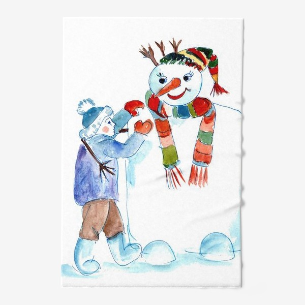 Полотенце «Мальчик и снеговик»