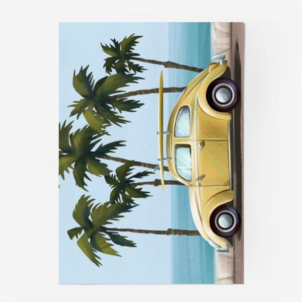 Постер «Желтый ретро автомобиль на фоне моря»
