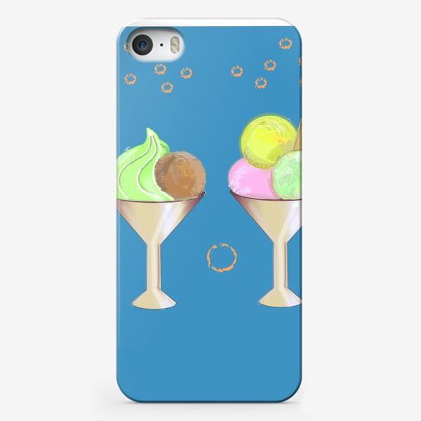 Чехол iPhone «Мороженное в креманках с ложками»