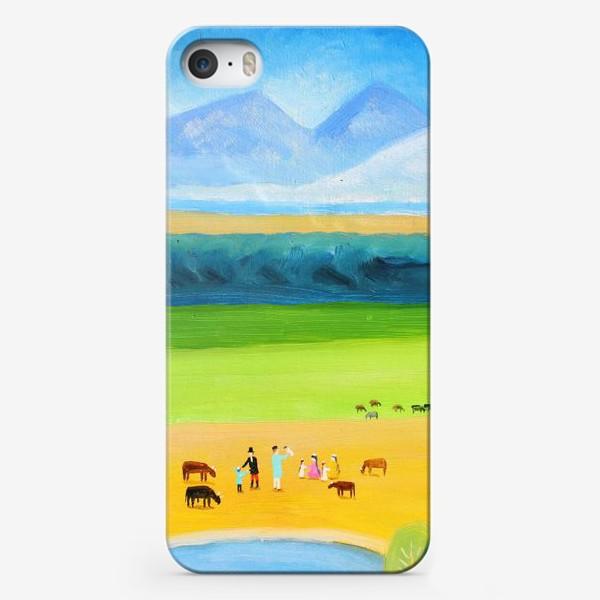 Чехол iPhone «Кубанский пикник с коровами на фоне гор»