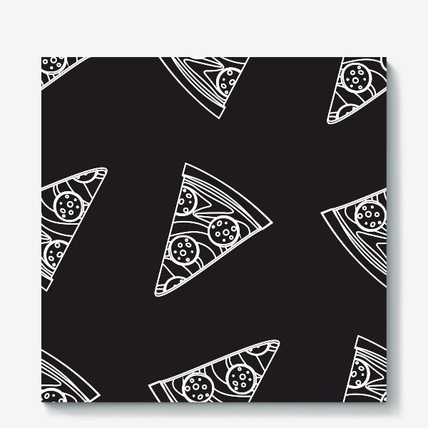 Холст «Пицца рисунок мелом»
