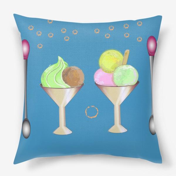 Подушка «Мороженное в креманках с ложками»