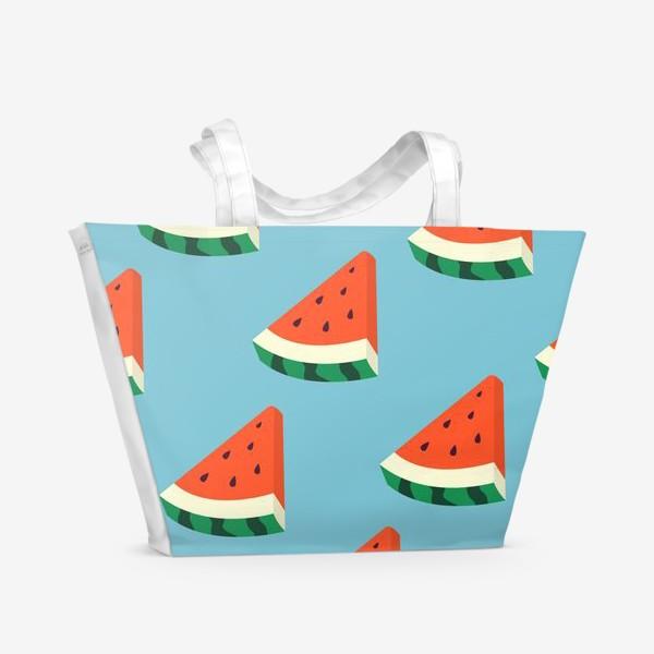 Пляжная сумка «Арбузные дольки паттерн»