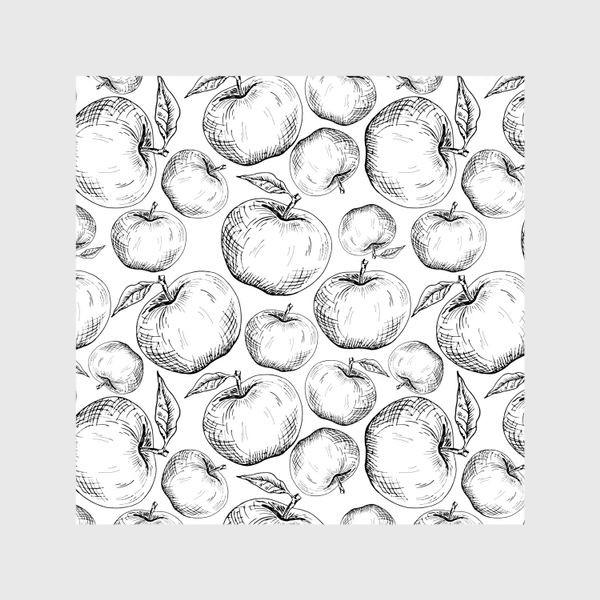 Шторы «Чёрно-белый паттерн яблоки»