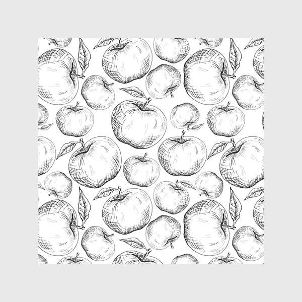 Скатерть «Чёрно-белый паттерн яблоки»