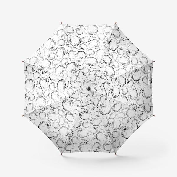 Зонт «Чёрно-белый паттерн яблоки»