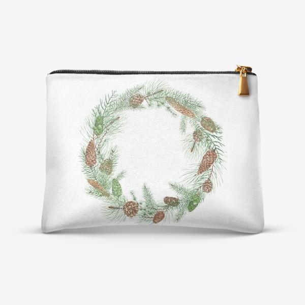 Косметичка «новогодная акварельная  иллюстрация, гирлянда с еловыми ветками и шищками»