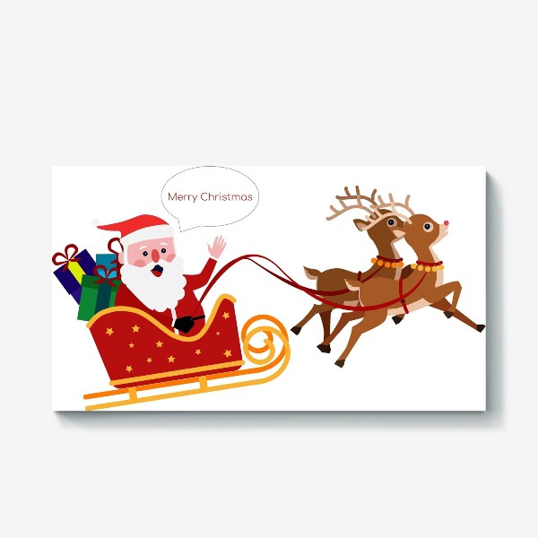 Холст «Новый год. Санта с оленями»