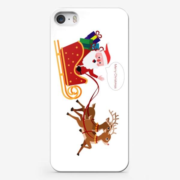 Чехол iPhone «Новый год. Санта с оленями»