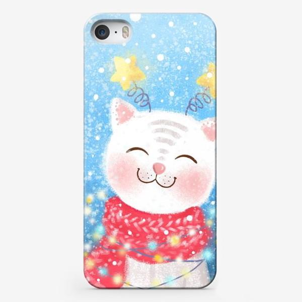 Чехол iPhone «Новогодний кот»