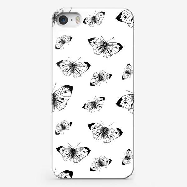 Чехол iPhone «Паттерн бабочки чёрнобелый»