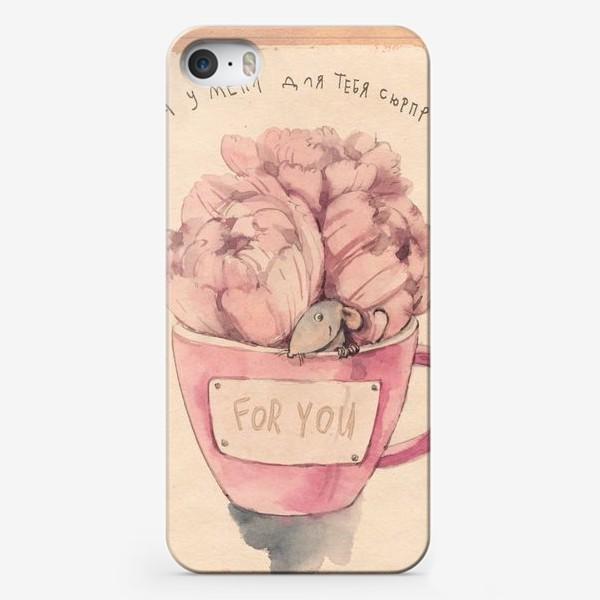 Чехол iPhone «Мышь из букета »