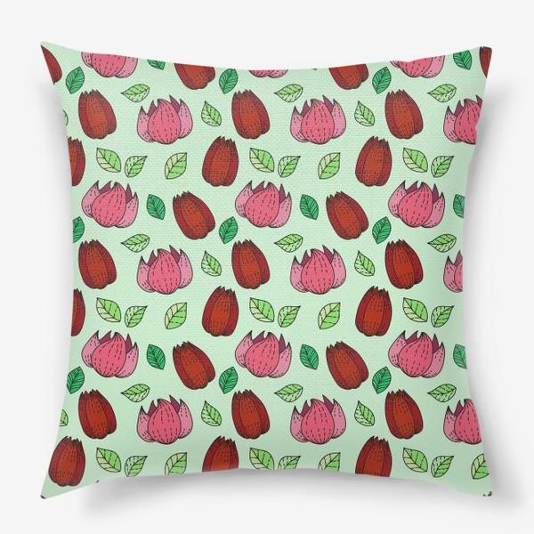 Подушка «Тюльпаны и лотосы»