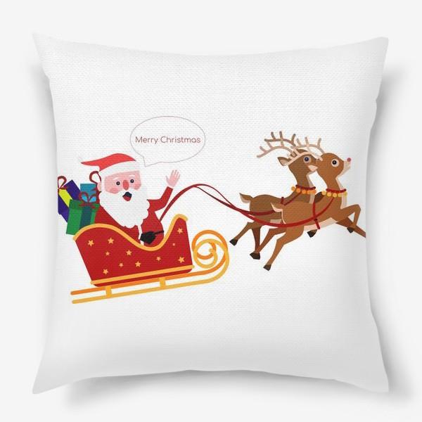 Подушка «Новый год. Санта с оленями»